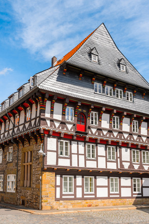 Close view of a house in the Old town of Gorlar, Lower Saxony, Germany. Old town of Goslar