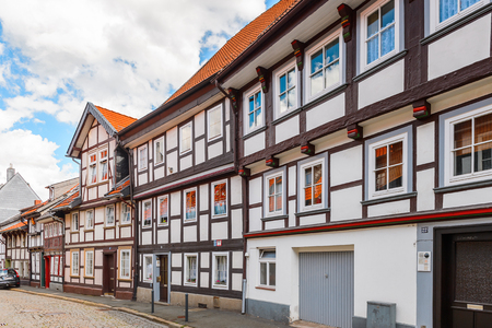 Half-timbered House in the Old town of Gorlar, Lower Saxony, Germany. Old town of Goslar is a UNESCO World Heritage Stock Photo