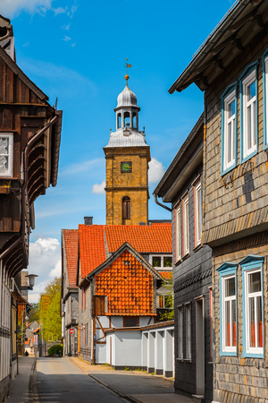 House in the Old town of Gorlar, Lower Saxony, Germany. Old town of Goslar is a UNESCO World Heritage Stock Photo
