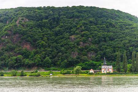 Houses on the coast of the river Rhine in Germany
