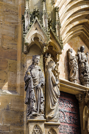 Statue of the Erfurt Cathedral and Collegiate Church of St Mary, Erfurt, Germany.  Martin Luther was ordained in the cathedral in 1507 Stock Photo