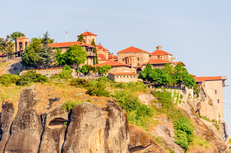 Monastery complex in Meteora mountains, Thessaly, Greece. Фото со стока
