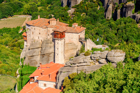 Monastery complex in Meteora mountains, Thessaly, Greece. UNESCO World Heritage