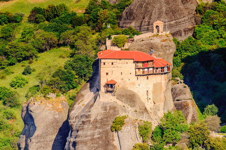 Monastery complex in Meteora mountains, Thessaly, Greece. 스톡 콘텐츠