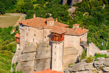 Monastery complex in Meteora mountains, Thessaly, Greece. U