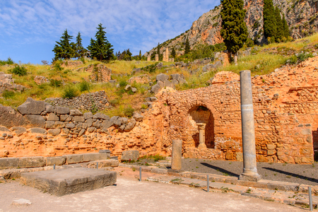 Delphi, an archaeological site in Greece, at the Mount Parnassus. Delphi is famous by the oracle at the sanctuary dedicated to Apollo.