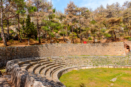 Amphitheater in  Delphi, an archaeological site in Greece, at the Mount Parnassus. Delphi is famous by the oracle at the sanctuary dedicated to Apollo. UNESCO World heritage