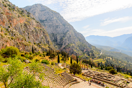 Amphitheater in Delphi, an archaeological site in Greece, at the Mount Parnassus. Delphi is famous by the oracle at the sanctuary dedicated to Apollo. Stock Photo