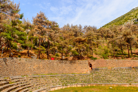 Amphitheater in Delphi, an archaeological site in Greece, at the Mount Parnassus. Delphi is famous by the oracle at the sanctuary dedicated to Apollo. 스톡 콘텐츠
