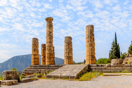 Apollo Temple in Delphi, an archaeological site in Greece, at the Mount Parnassus. Delphi is famous by the oracle at the sanctuary dedicated to Apollo. UNESCO World heritage