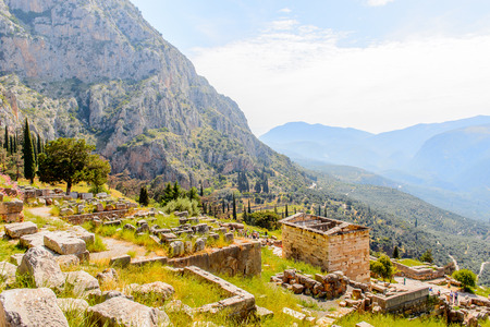 Delphi, an archaeological site in Greece, at the Mount Parnassus. Delphi is famous by the oracle at the sanctuary dedicated to Apollo. UNESCO World heritage