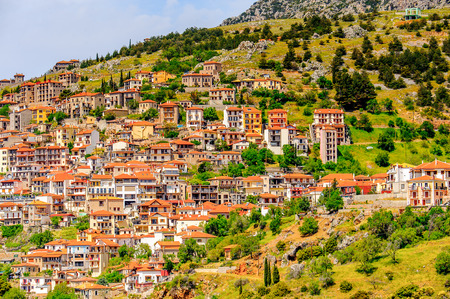 Aerial view of Arachova, Greece.  A village on the green slopes of Parnassus Mountains, Greece