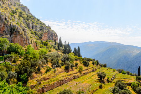 Delphi, an archaeological site in Greece, at the Mount Parnassus. Stock Photo