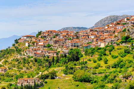 Aerial panoramic view of Arachova, Greece.  A village on the green slopes of Parnassus Mountains, Greece Фото со стока
