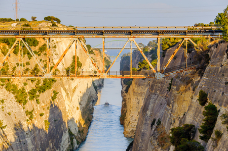 Corinth Canal, a canal that connects the Gulf of Corinth with the Saronic Gulf in the Aegean Sea.