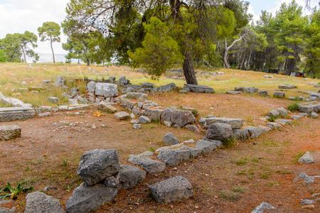 Ruins of Katagogion, Epidaurus, Peloponnese, Greece. Stock Photo