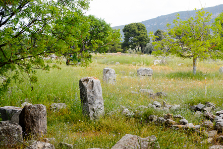 Ruins of Asklepieion, the Greek god of medicine, Epidaurus, Peloponnese, Greece. Sanctuary of Asclepius at Epidaurus. Stock Photo