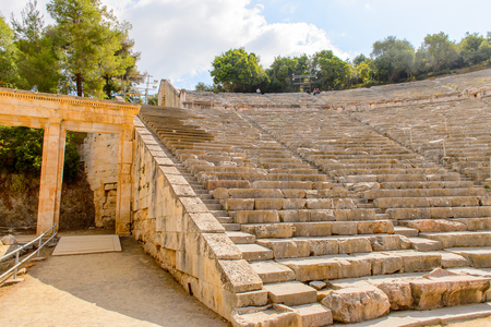 Large amphitheater of Epidaurus, Peloponnese, Greece.Sanctuary of Asclepius at Epidaurus. Stock Photo