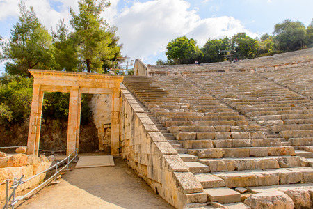 Large amphitheater of Epidaurus, Peloponnese, Greece.Sanctuary of Asclepius at Epidaurus. Foto de archivo
