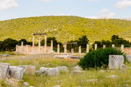 Colums of Abaton of Epidaurus, Peloponnese, Greece.