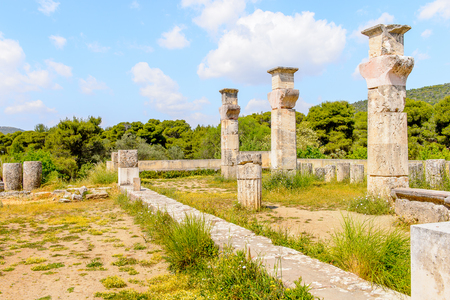Colums of Abaton of Epidaurus, Peloponnese, Greece. Sanctuary of Asclepius at Epidaurus. Stock Photo