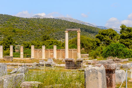 Ruins of Epidaurus, Peloponnese, Greece. Stock Photo