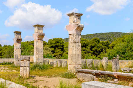 Colums of Abaton of Epidaurus, Peloponnese, Greece. Sanctuary of Asclepius at Epidaurus. Stock Photo