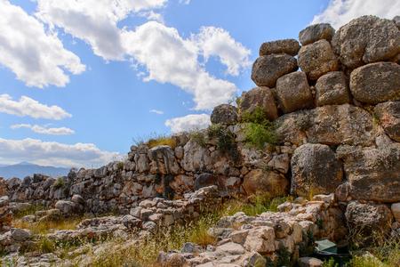 Lion gate of Mycenae, center of Greek civilization, Peloponnese, Greece. Mycenae is a famous archaeological site in Greece.