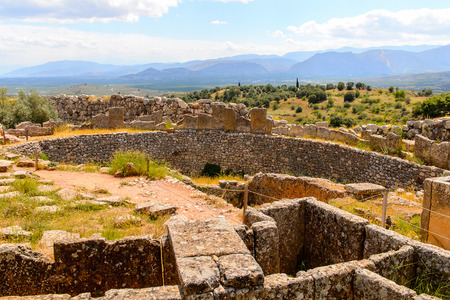 Mycenae, center of Greek civilization, Peloponnese, Greece. Mycenae is a famous archaeological site in Greece. Stock Photo