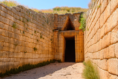 Treasury of Atreus, Mycenae archaeological site in Greece. Bronze Age. UNESCO World Heritage Site 免版税图像