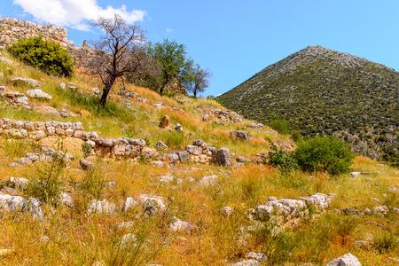 Mycenae, center of Greek civilization, Peloponnese, Greece. Mycenae is a famous archaeological site in Greece. UNESCO World Heritage Site Stock Photo