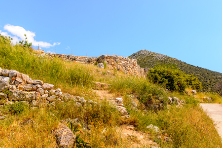 Mycenae, center of Greek civilization, Peloponnese, Greece. Mycenae is a famous archaeological site in Greece. Banco de Imagens