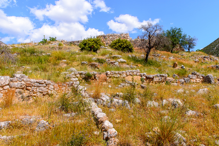 Mycenae, center of Greek civilization, Peloponnese, Greece. Mycenae is a famous archaeological site in Greece. Stock Photo