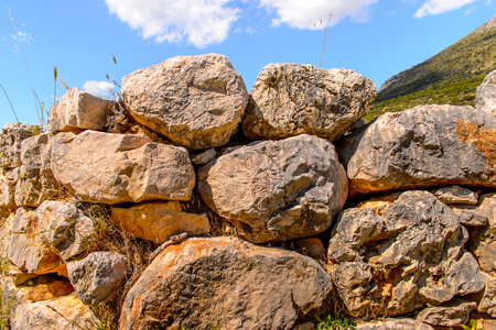 Ruins of Mycenae, center of Greek civilization, Peloponnese, Greece. Mycenae is a famous archaeological site in Greece.
