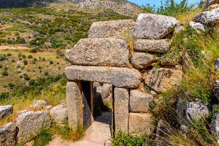 Ruins of Mycenae, center of Greek civilization, Peloponnese, Greece. Mycenae is a famous archaeological site in Greece.