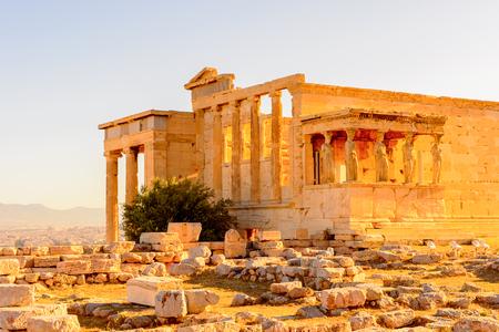 Erechtheion or Erechtheum, A Greek temple dedicated to both Athena and Poseidon. Acropolis of Athens.