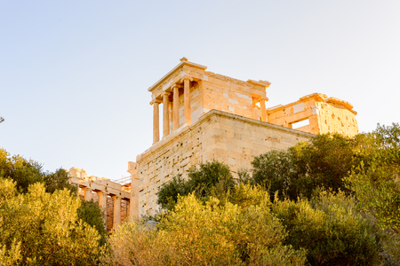 Temple of Athena Nike, Acropolis of Athens. Stock Photo