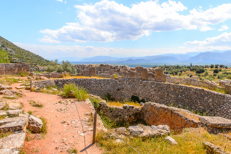 Walls of Mycenae, center of Greek civilization, Peloponnese, Greece. Mycenae is a famous archaeological site in Greece. UNESCO World Heritage Site