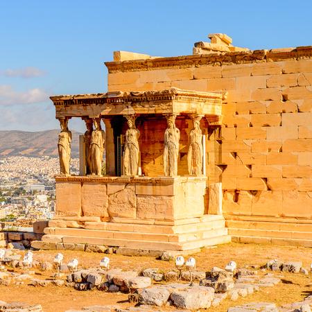 Erechtheion or Erechtheum, A Greek temple dedicated to both Athena and Poseidon. Stok Fotoğraf