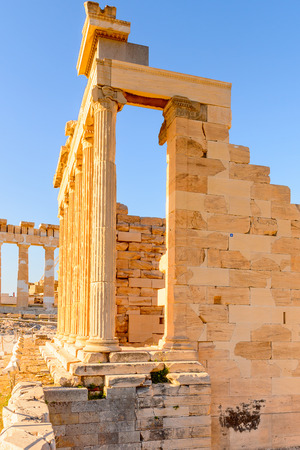Erechtheion or Erechtheum, A Greek temple dedicated to both Athena and Poseidon. Acropolis of Athens.