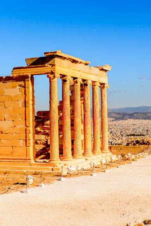 Erechtheion or Erechtheum, A Greek temple dedicated to both Athena and Poseidon. Acropolis of Athens Stock Photo