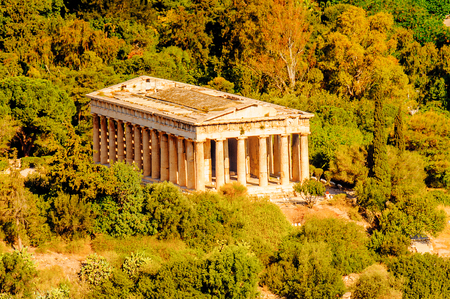 Temple of Hephaestus/Theseion. View from the Acropolis of Athens. Stock Photo