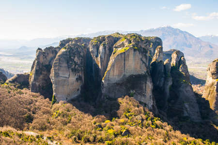 Monastery complex in Meteora mountains, Thessaly, Greece. Stock Photo