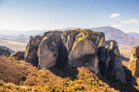Monastery complex in Meteora mountains, Thessaly, Greece.  UNESCO World Heritage List