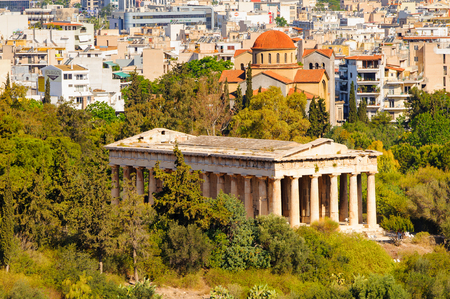 Temple of HephaestusTheseion. View from the Acropolis of Athens.