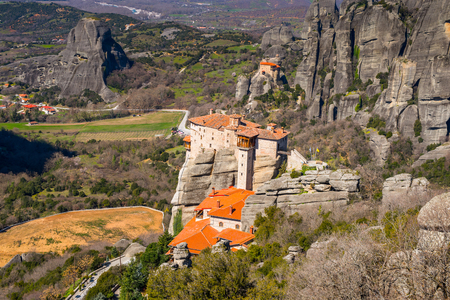 The Holy Monastery of Rousanou in Meteora mountains, Thessaly, Greece.