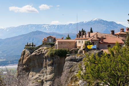 Holy Monastery of Saint Stephen in Meteora mountains, Thessaly, Greece.  UNESCO World Heritage List Stock Photo