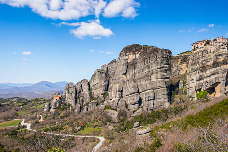 Nature of the Meteora mountains in Thessaly, Greece. Stock Photo