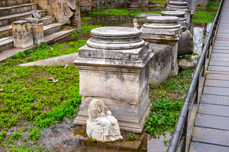 Columns of the Sanctuary of Zeus Hypsistos, Dion Archeological Site in Greece