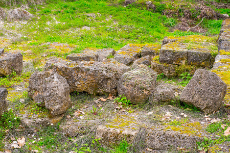 Ruins of the Dion Archeological Site in Greece Stock Photo